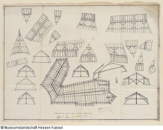 meisterri einer dachkonstruktion grundri und schnitt. Black Bedroom Furniture Sets. Home Design Ideas