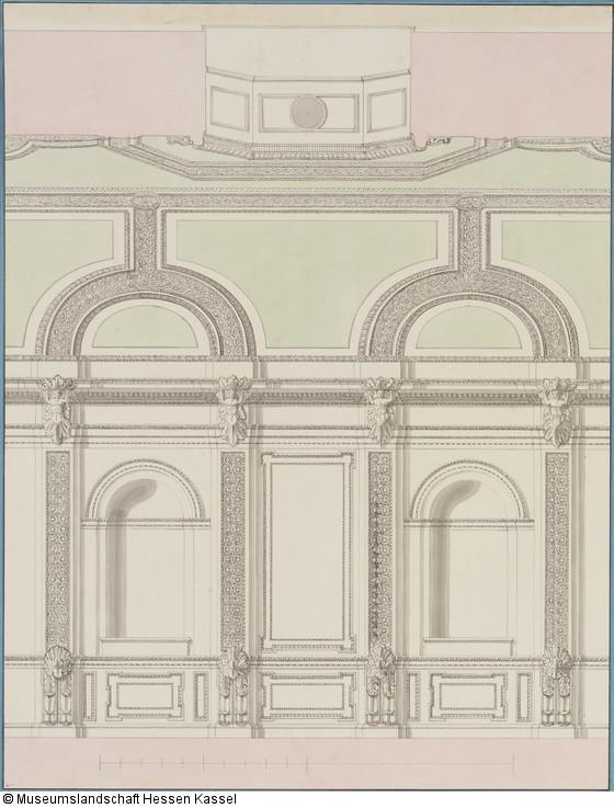 1.29.9.16   Kassel, Ständehaus, Entwurf Zur Wand  Und Deckengestaltung Des  Ständesaals, Aufriß