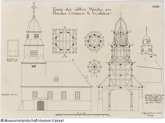 niedergirmes alte kirche bauaufnahme des westturms ansicht grundrisse aufri und schnitt. Black Bedroom Furniture Sets. Home Design Ideas